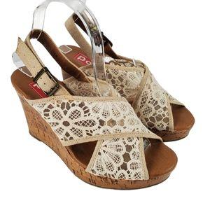 Pop Lace Cork Wedge Heel Sandals Cream Tan 8M